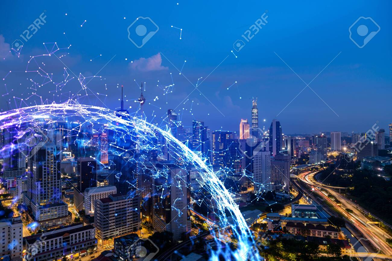 Abstract technology icons, night aerial panoramic cityscape of Kuala Lumpur, Malaysia, Asia. The concept of innovative approach to optimize international business process. Double exposure. - 151203155