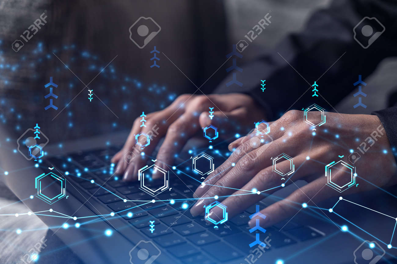 Woman typing the keyboard to create innovative software to change the world and provide a completely new service. Close up shot. Hologram tech graphs. Concept of Dev team. Formal wear. - 163228851