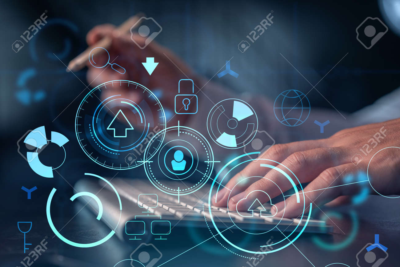 Hands typing the keyboard to create innovative software to change the world and provide a completely new service. Close up shot. Hologram tech graphs. Concept of Dev team. Formal wear. - 163559331
