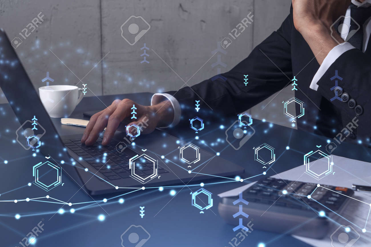 Hands typing the keyboard to create innovative software to change the world and provide a completely new service. Close up shot. Hologram tech graphs. Concept of Dev team. Formal wear. - 163559377