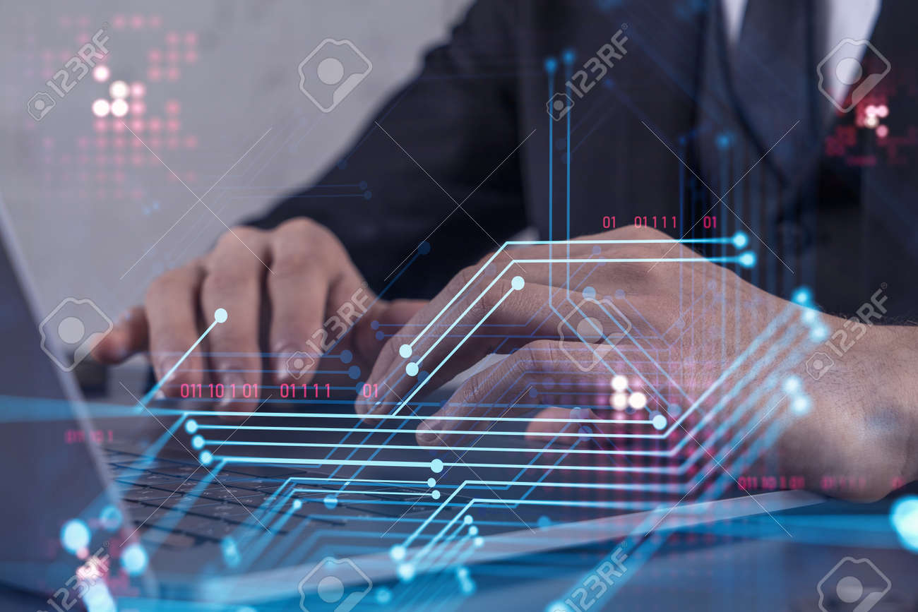 Hands typing the keyboard to create innovative software to change the world and provide a completely new service. Close up shot. Hologram tech graphs. Concept of Dev team. Formal wear. - 166879388