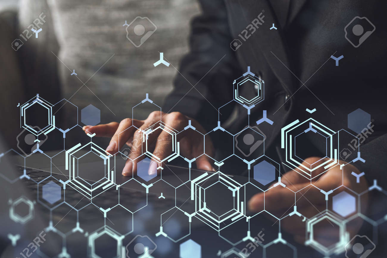 Woman typing the keyboard to create innovative software to change the world and provide a completely new service. Close up shot. Hologram tech graphs. Concept of Dev team. Formal wear. - 167038680