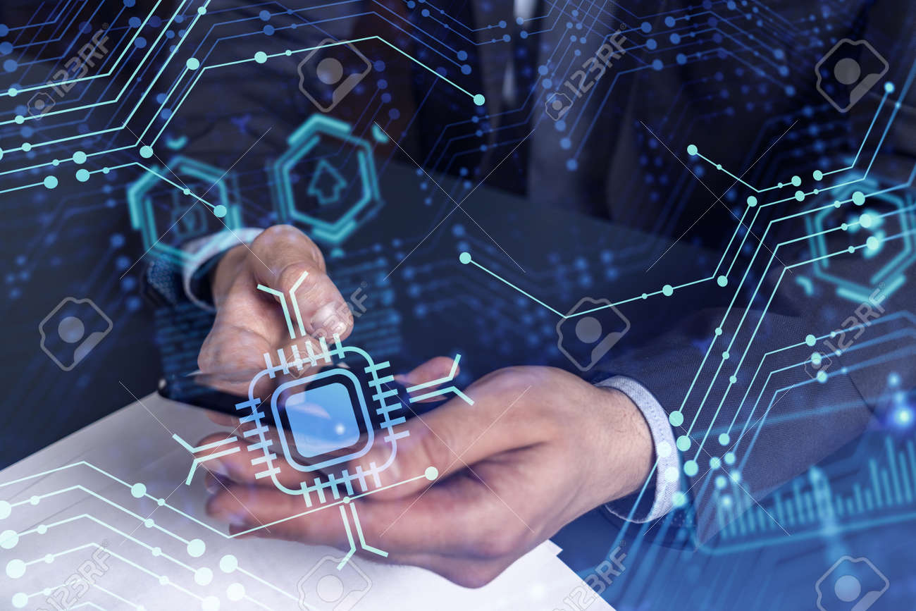 Programmer holding in the hands a smart phone and testing an innovative application to provide a completely new service. Close up shot. Hologram tech graphs. Concept of Dev team. Formal wear. - 169134369
