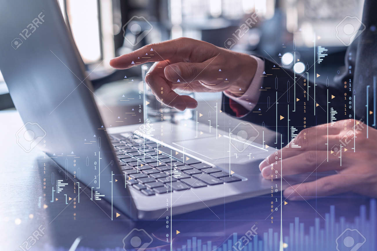 Hands typing the keyboard to research stock market to proceed right investment solutions. Internet trading and wealth management concept. Formal wear. Hologram Forex chart over close up shot. - 169468068