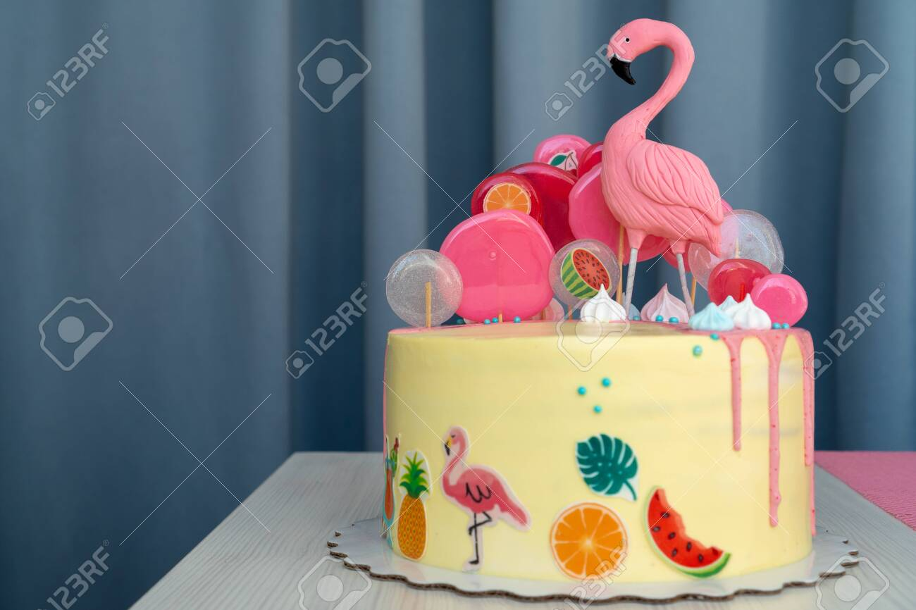 Outstanding Flamingo Cake At The Hawaiian Party Childrens Birthday Cake Personalised Birthday Cards Veneteletsinfo