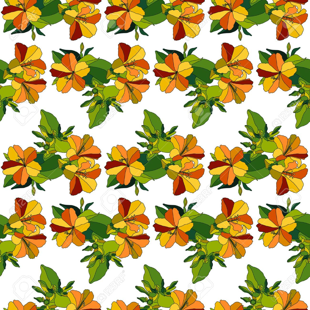Fall Color Flowers Seamless Vector Pattern Royalty Free Cliparts Vectors And Stock Illustration Image 130656883