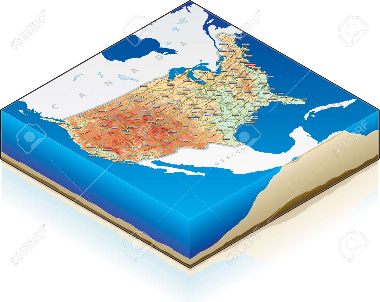 3D Isometric Map Of The United States Of America With Text Stock