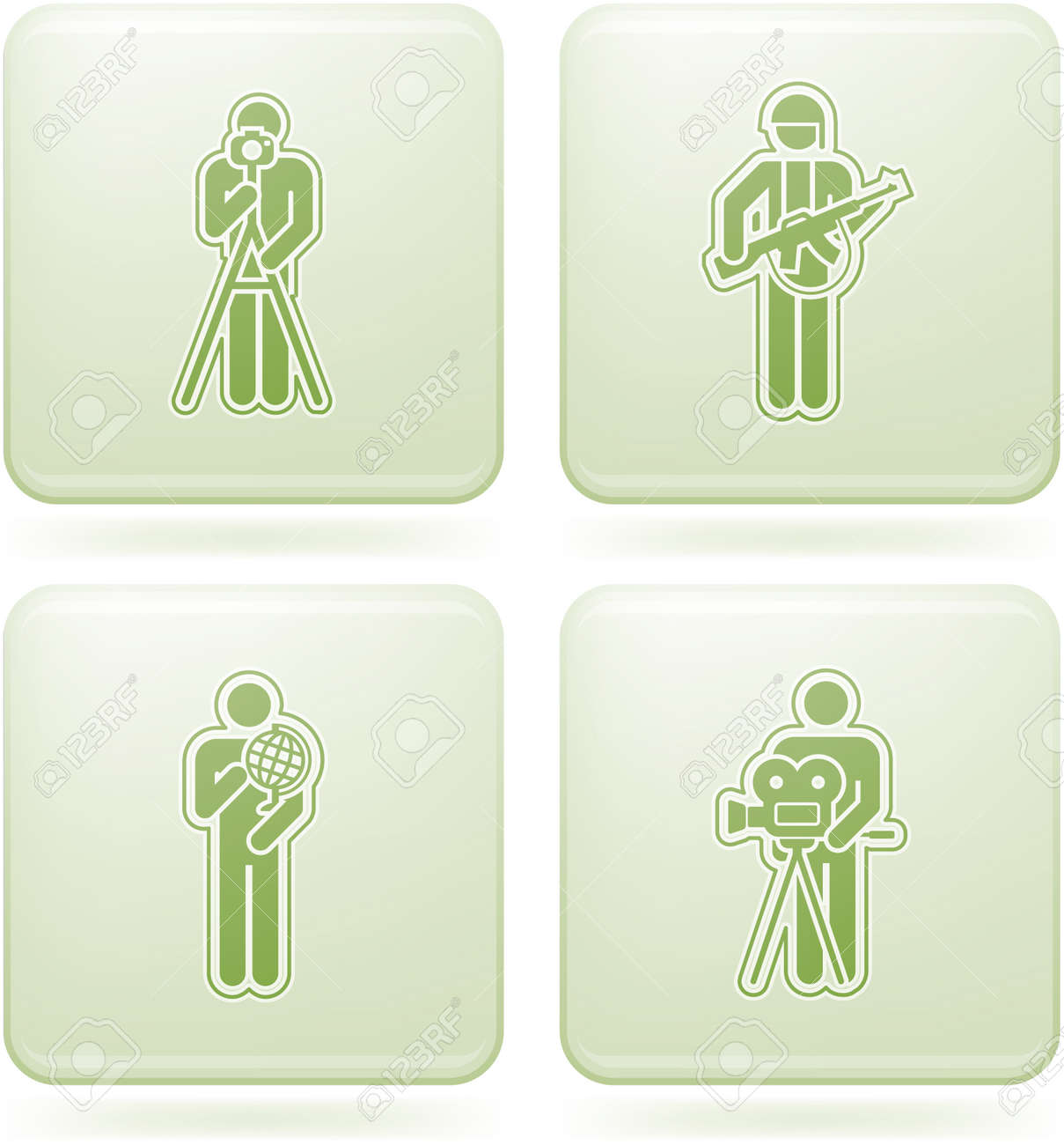 Olivine Square 2D Icons Set: Occupation Stock Vector - 6771530