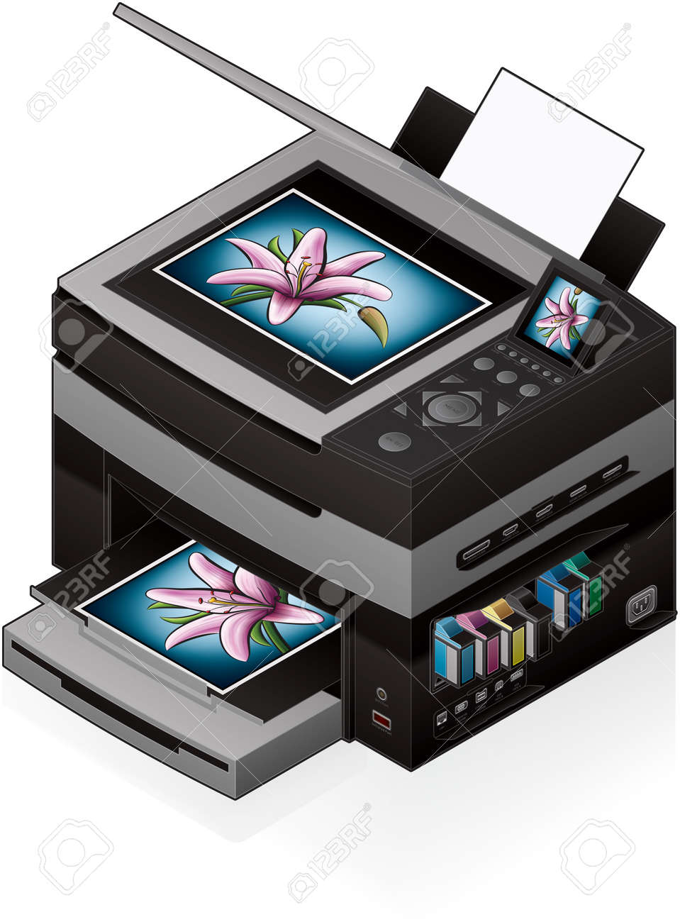 3D Isometric Office Color Photo InkJet Printer Stock Vector - 9550019