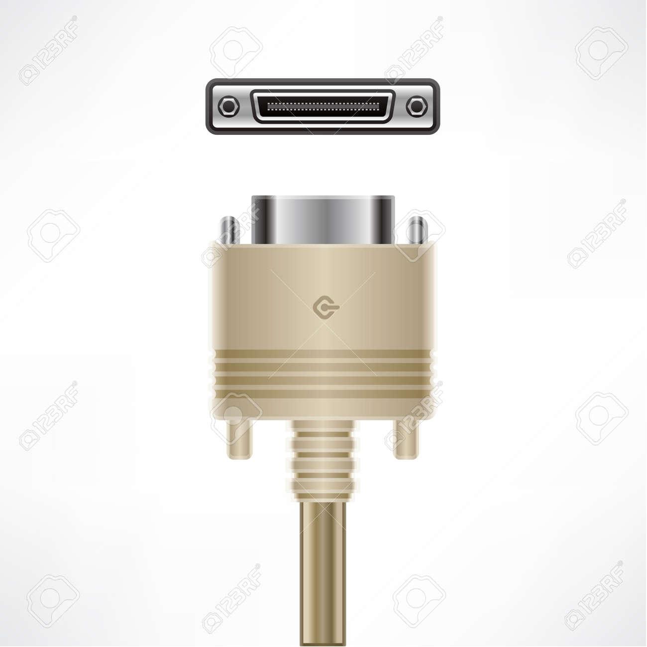 SCSI High Density Centronics 60-Pin plug socket Stock Vector - 10273186