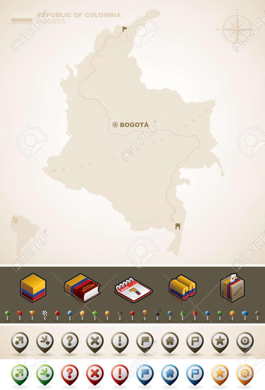 República De Colombia Y De América Del Norte Maps Además De Un - America mapa juego