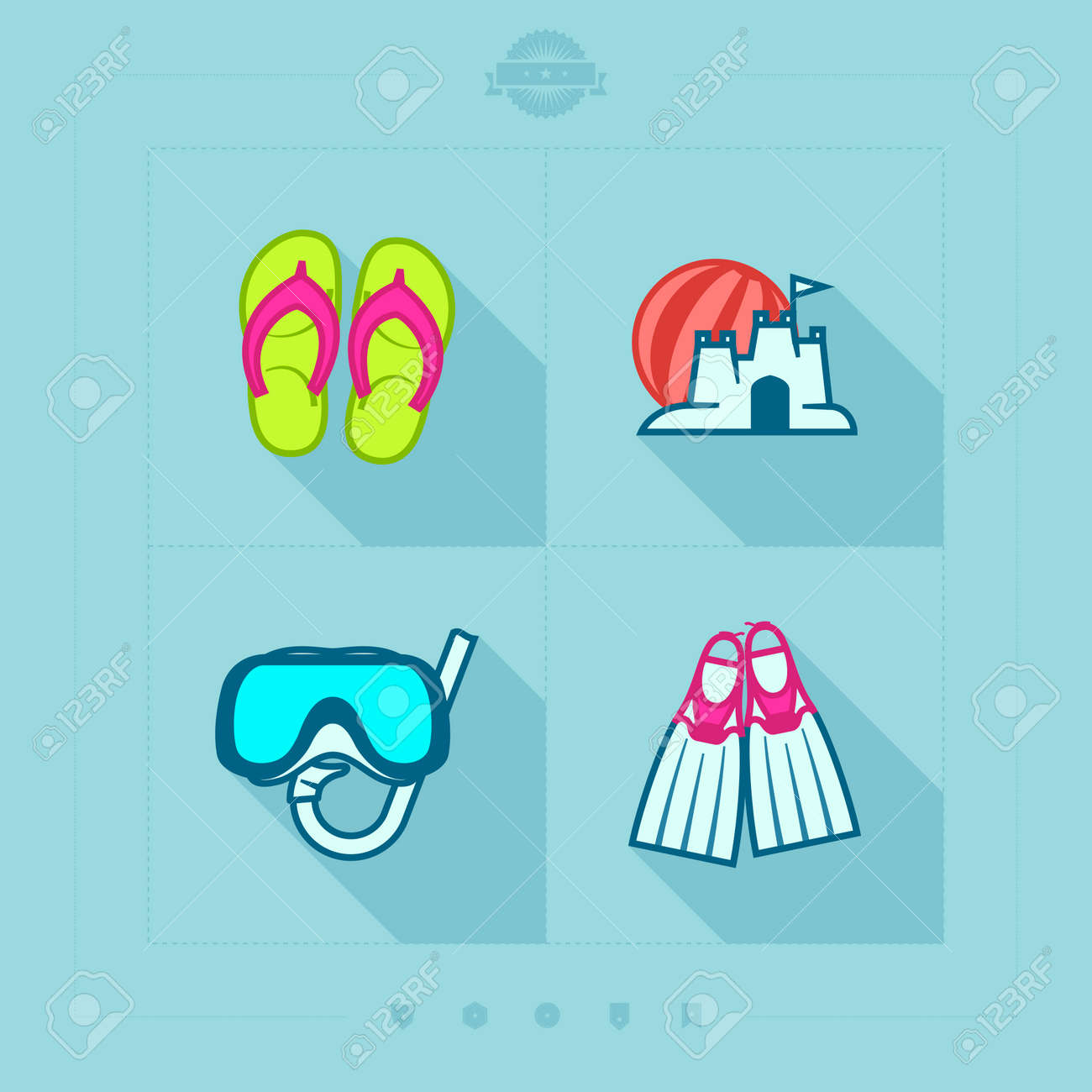 4 icons in relations to summer vacation time  Flip-flops, Sand castle and beach ball, Diving mask and snorkel, Diving flippers. Stock Vector - 25513376