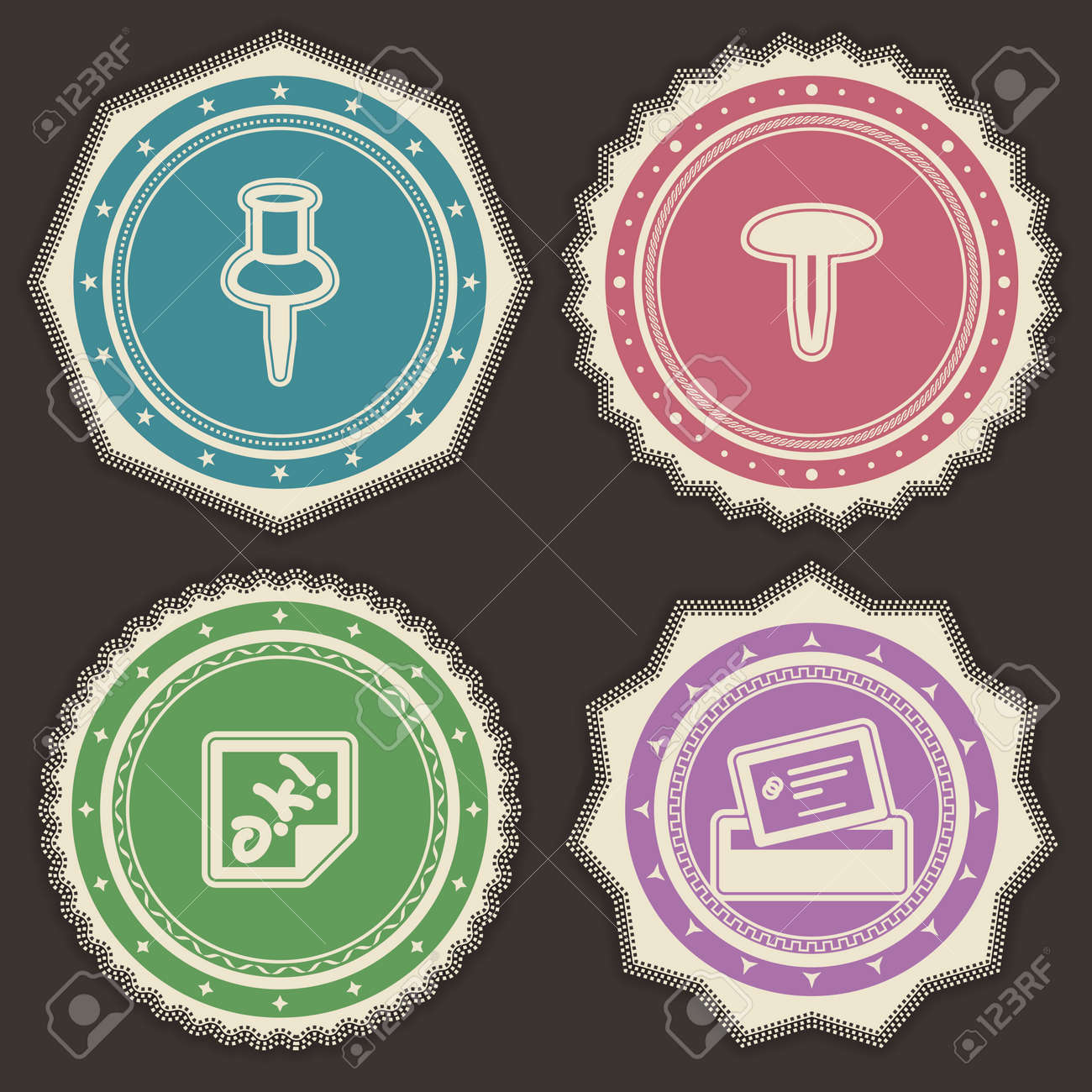 Office Supply Objects - Pin, Drawing Pin, Sticker, Business ...