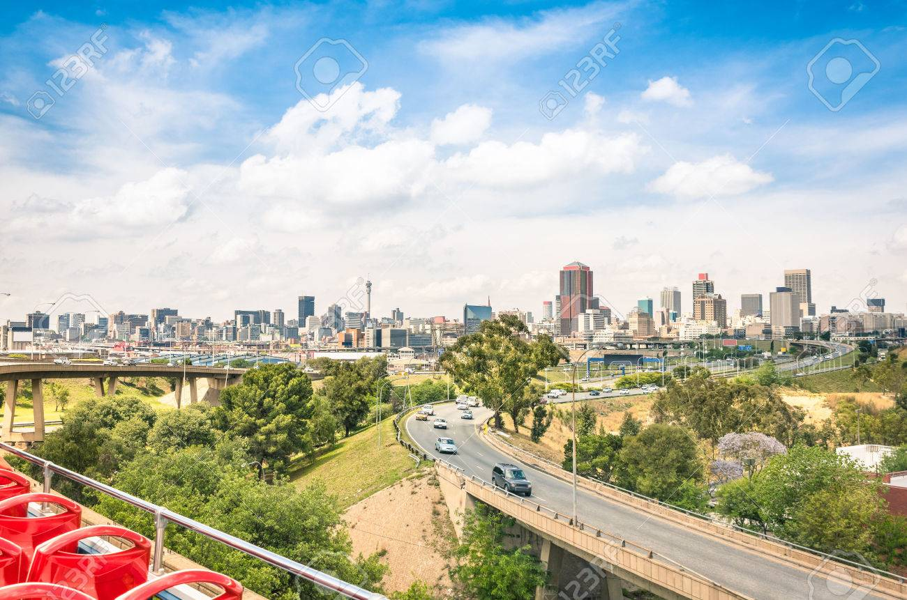 Wide angle view of johannesburg skyline from the highways during stock photo wide angle view of johannesburg skyline from the highways during a sightseeing tour around the urban area metropolitan buildings of the thecheapjerseys Images