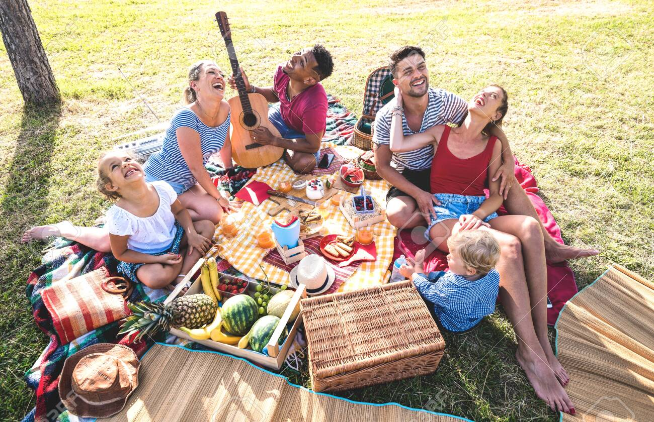 High angle top view of happy families having fun with kids at pic nic barbecue party - Multiracial love concept with mixed race people playing with children at public park - Warm retro vintage filter - 123656482
