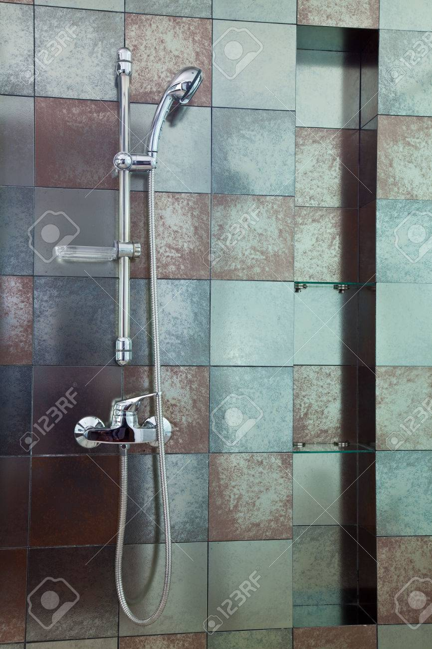 Modern Shower With Rust Colored Wall Tile Stock Photo, Picture And ...