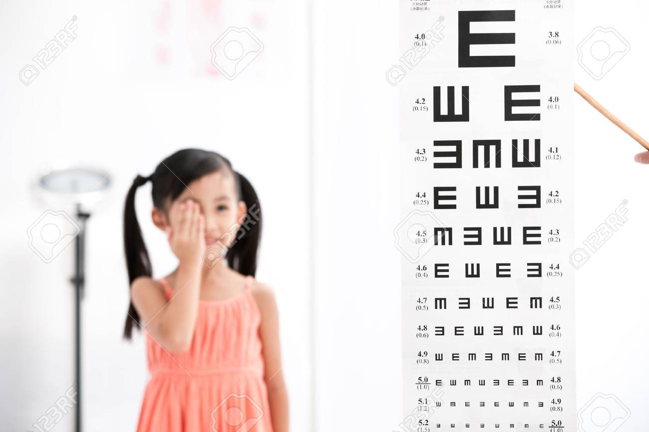 the girl testing her eyes Stock Photo - 30132309
