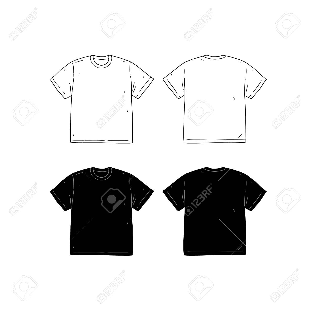 f354675ea Set of blank T-shirt design template hand drawn vector illustration. Front  and back