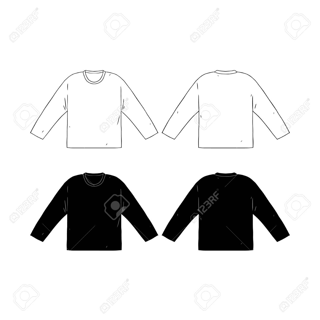 Hand Drawn Vector Illustration Of Blank Long Sleeve T Shirts