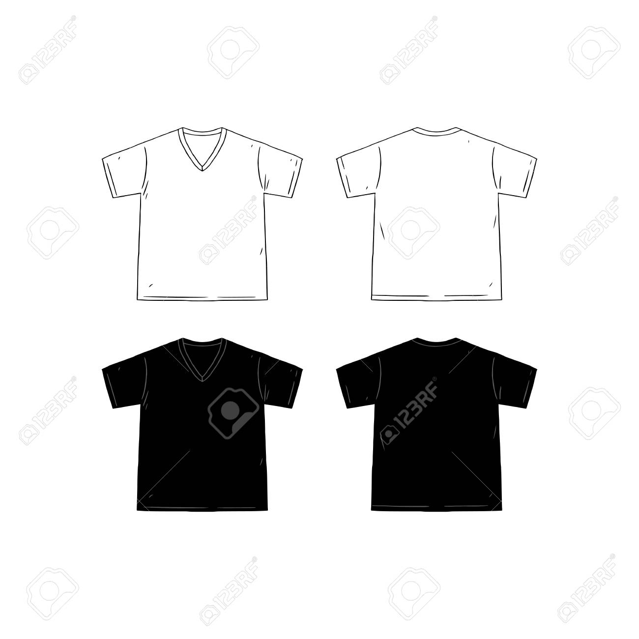 31b6725efa00 Set of blank v-neck t-shirt design template hand drawn vector illustration.