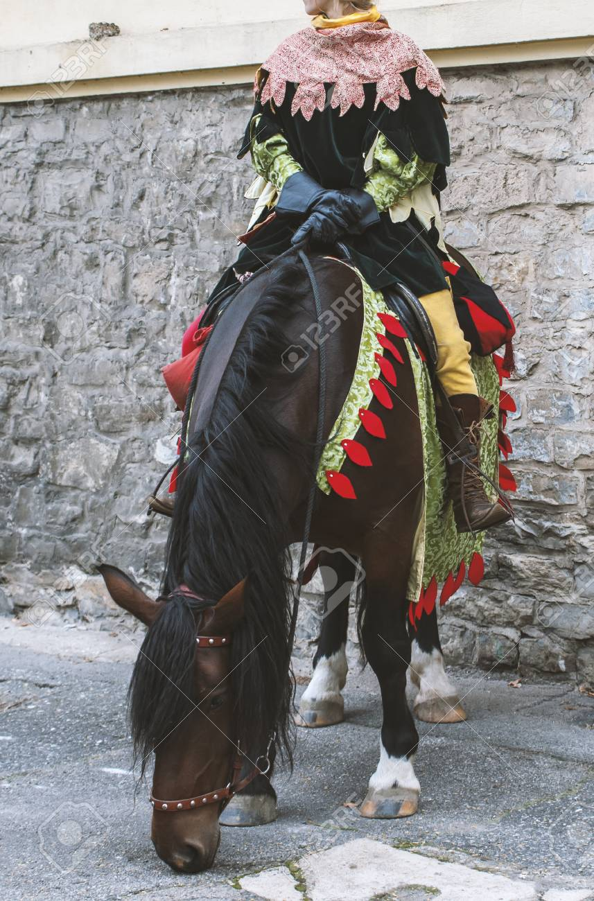 Actress Wearing Medieval Costume On A Brown Horse During Festival Stock Photo Picture And Royalty Free Image Image 101660490