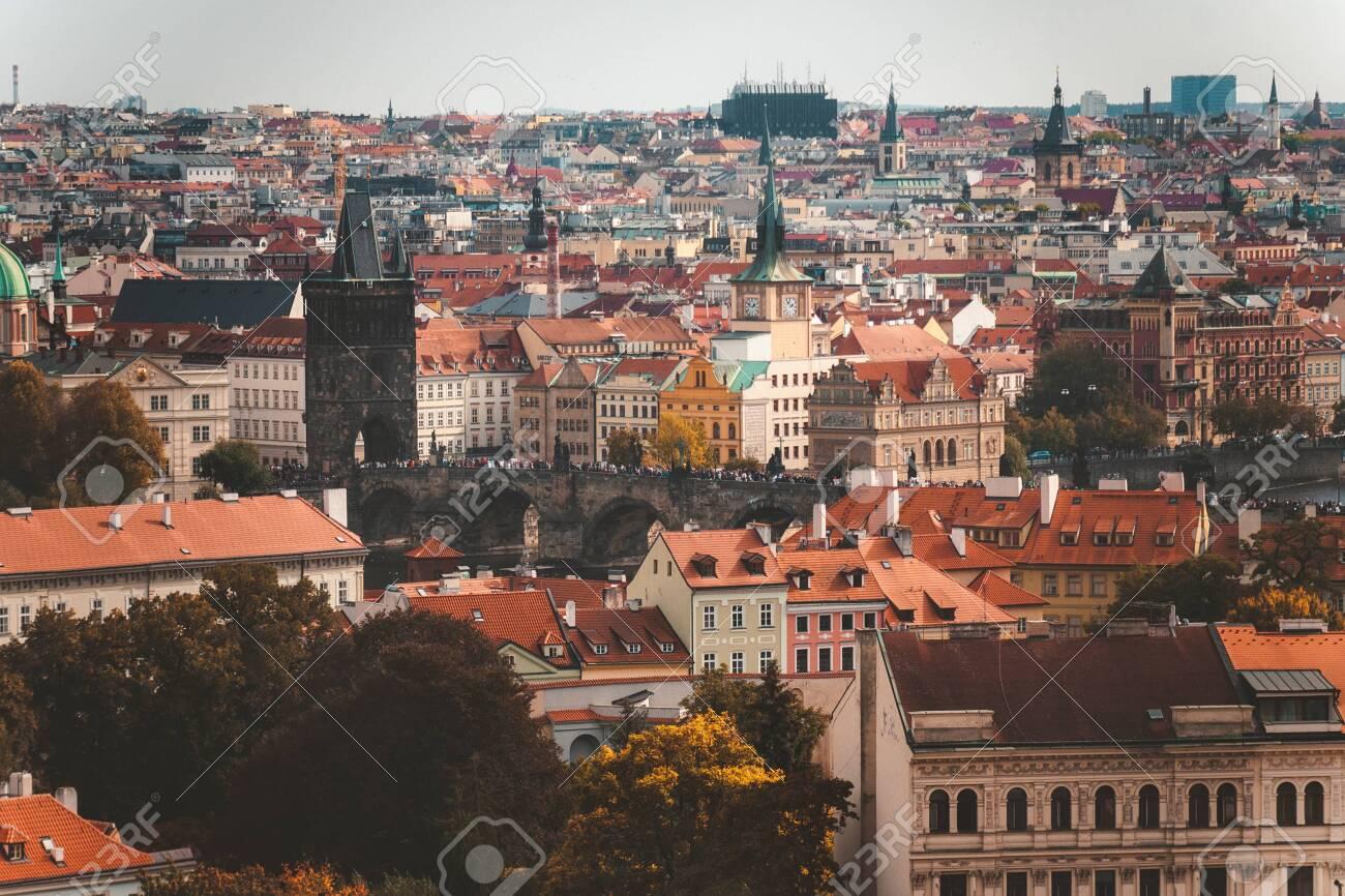 Prague, Czezh Republic  Scenic autumn aerial view of the Old