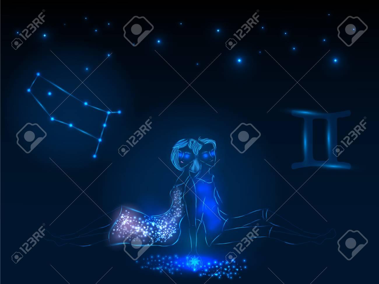 Vettoriale Segno Zodiacale Sul Cielo Stellato Simbolo Astrologico