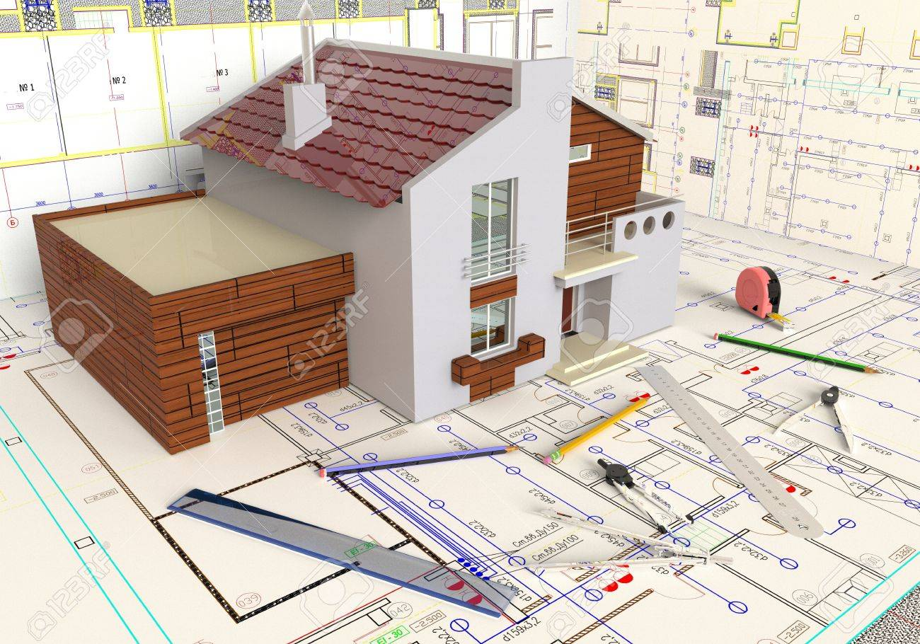 Rendering Of The House Architectural Drawing And Layout Stock Photo