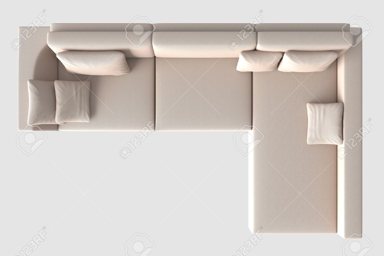 3d Rendering Sofa Top View Isolated On White Stock Photo Picture