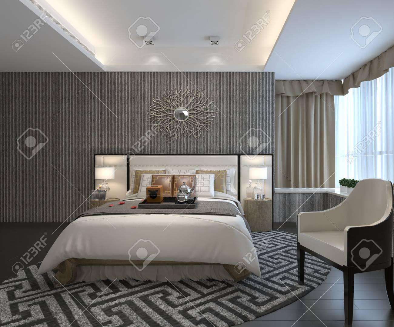 Intérieur rendu 3D chambre à coucher d\'un style classique