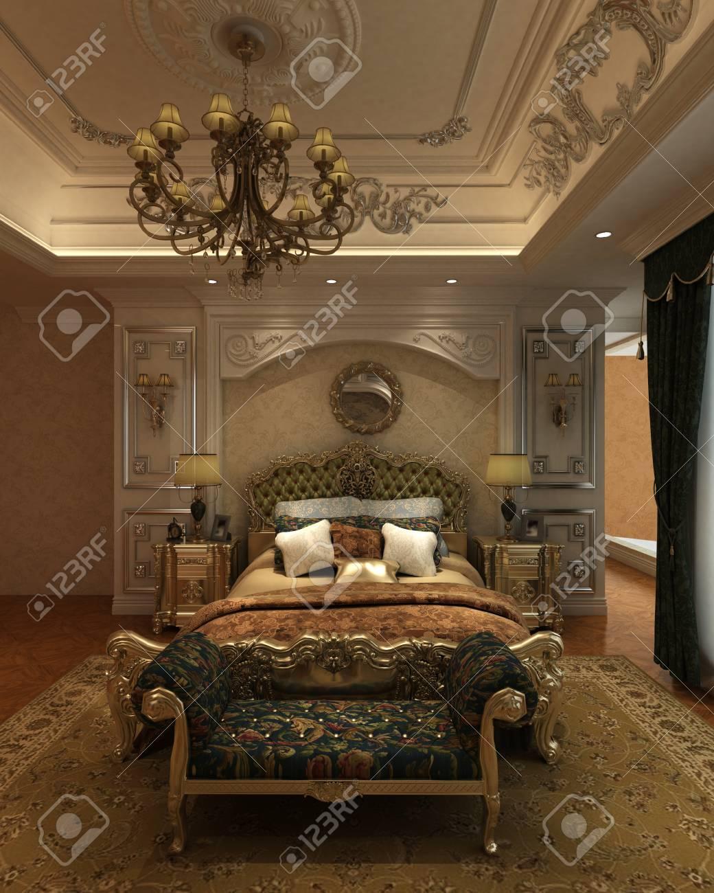 Intérieur Rendu 3D Chambre à Coucher D\'un Style Classique Banque D ...
