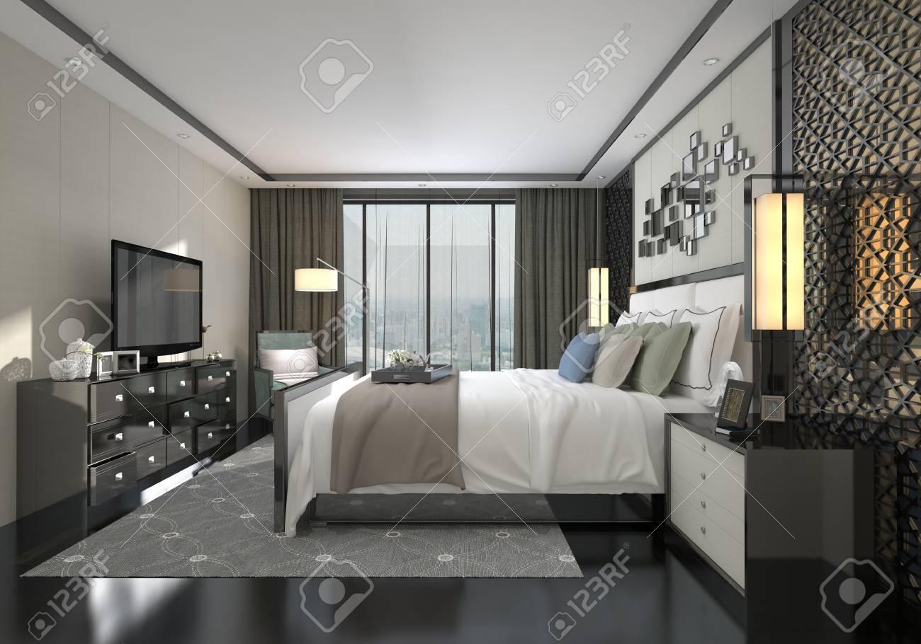 Interior 3D illustration chambre à coucher d\'un style moderne