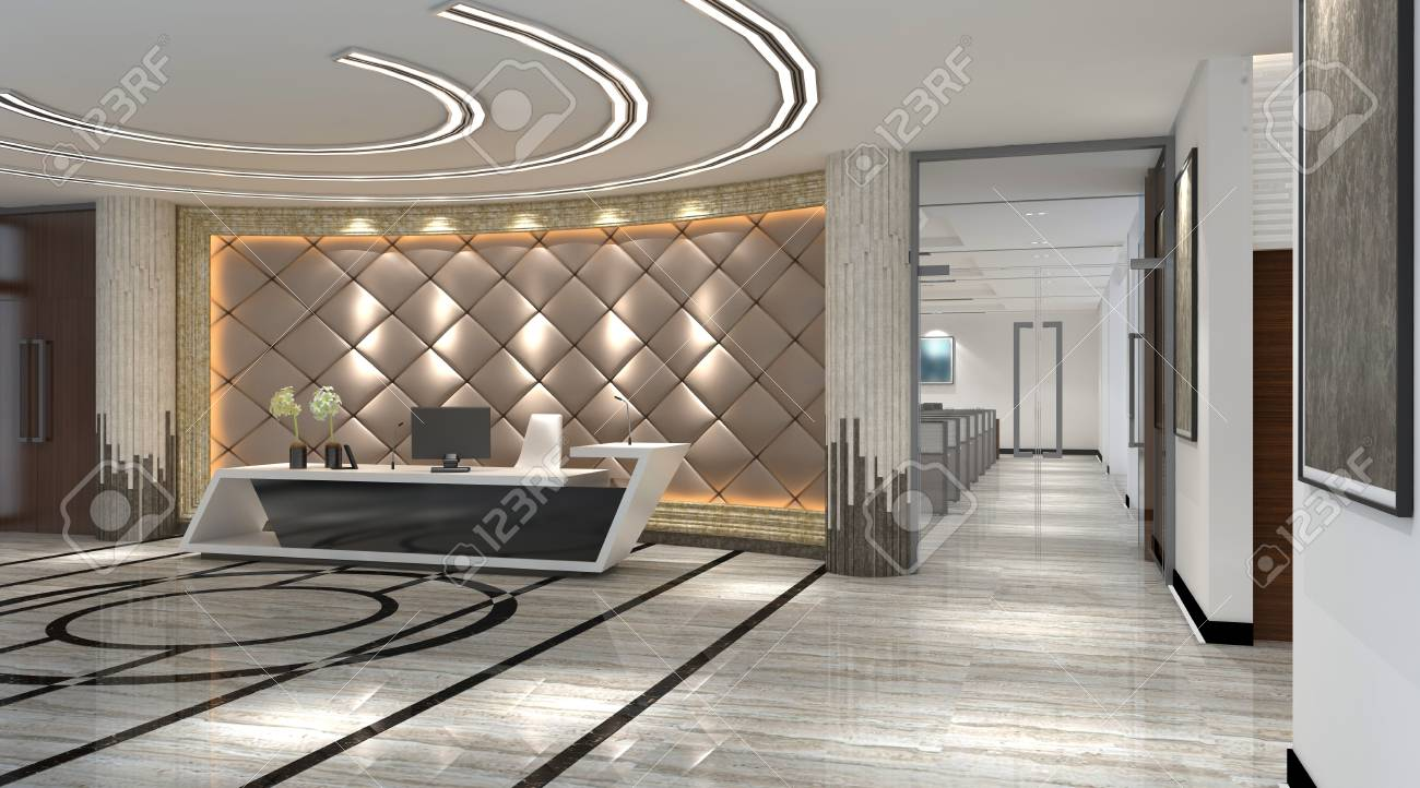 Interior Of Hotel Reception Hall 3d Illustration Stock Photo Picture And Royalty Free Image Image 79055821