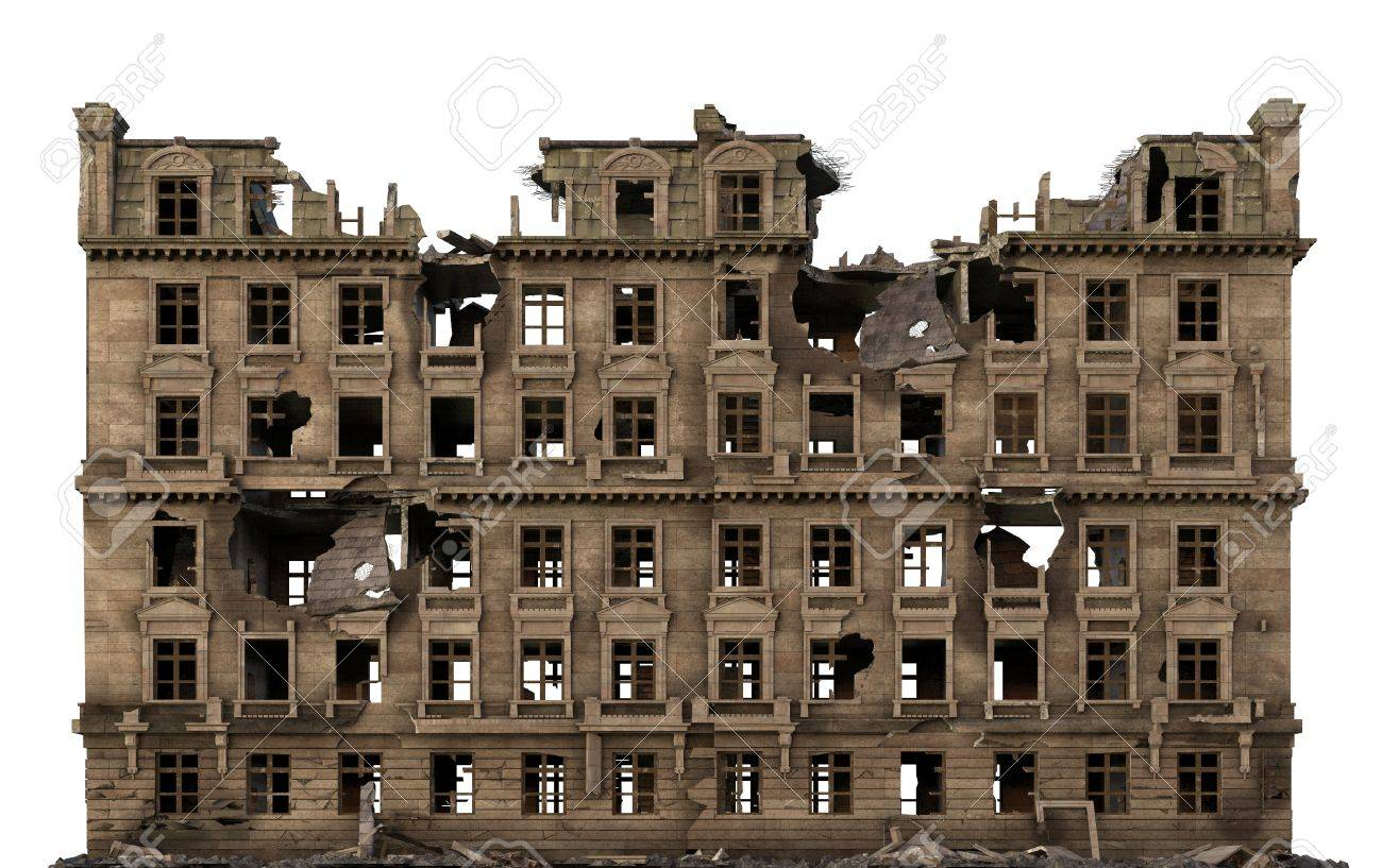 Ruined Building Isolated On White 3D Illustration - 87019984