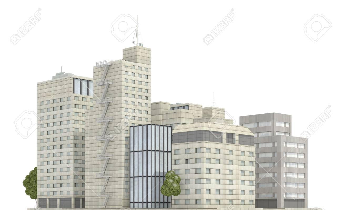 3D Illustration Modern Buildings Isolated On White Background ...