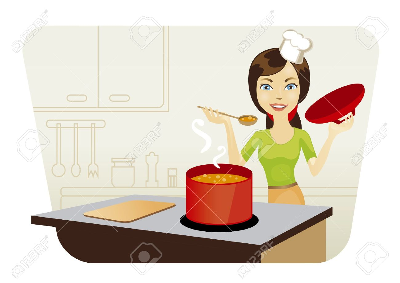 smiling young beautiful woman cooking in kitchen Stock Vector - 9826597