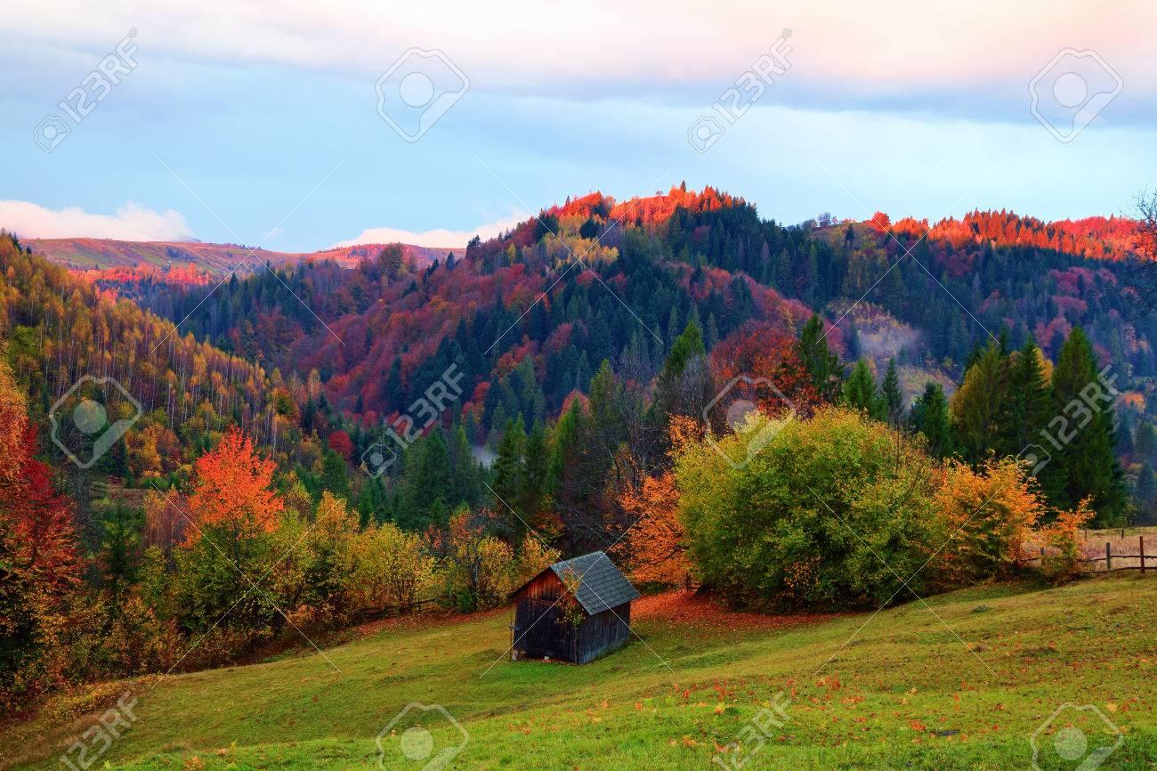 La Cabaña Solitaria Se Encuentra En Lo Alto De La Pradera De Montaña ...