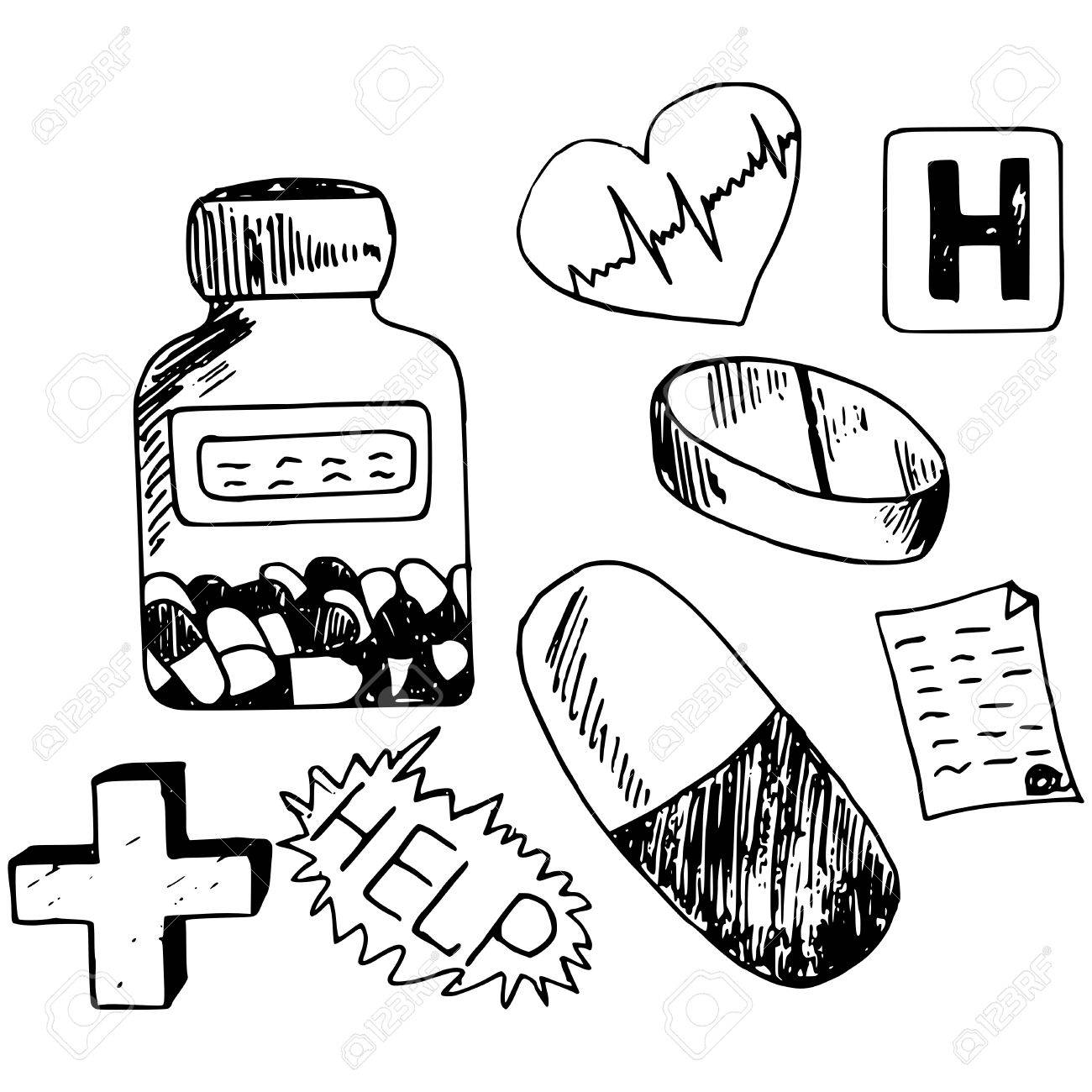 医学部シリーズの手作りイラスト、薬の落書き ロイヤリティフリー