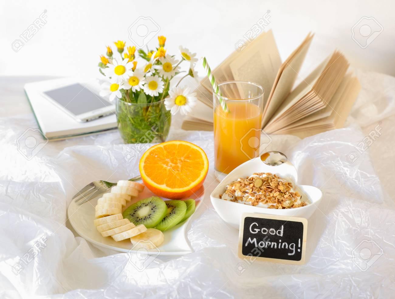 Good Morning And Healthy Breakfast Concept Fruits Banana Kiwi