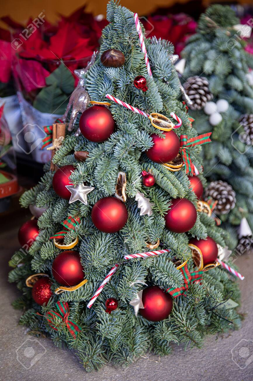 Decorated Mini Christmas Tree Created From Natural Spruce Branches Stock Photo Picture And Royalty Free Image Image 135005978