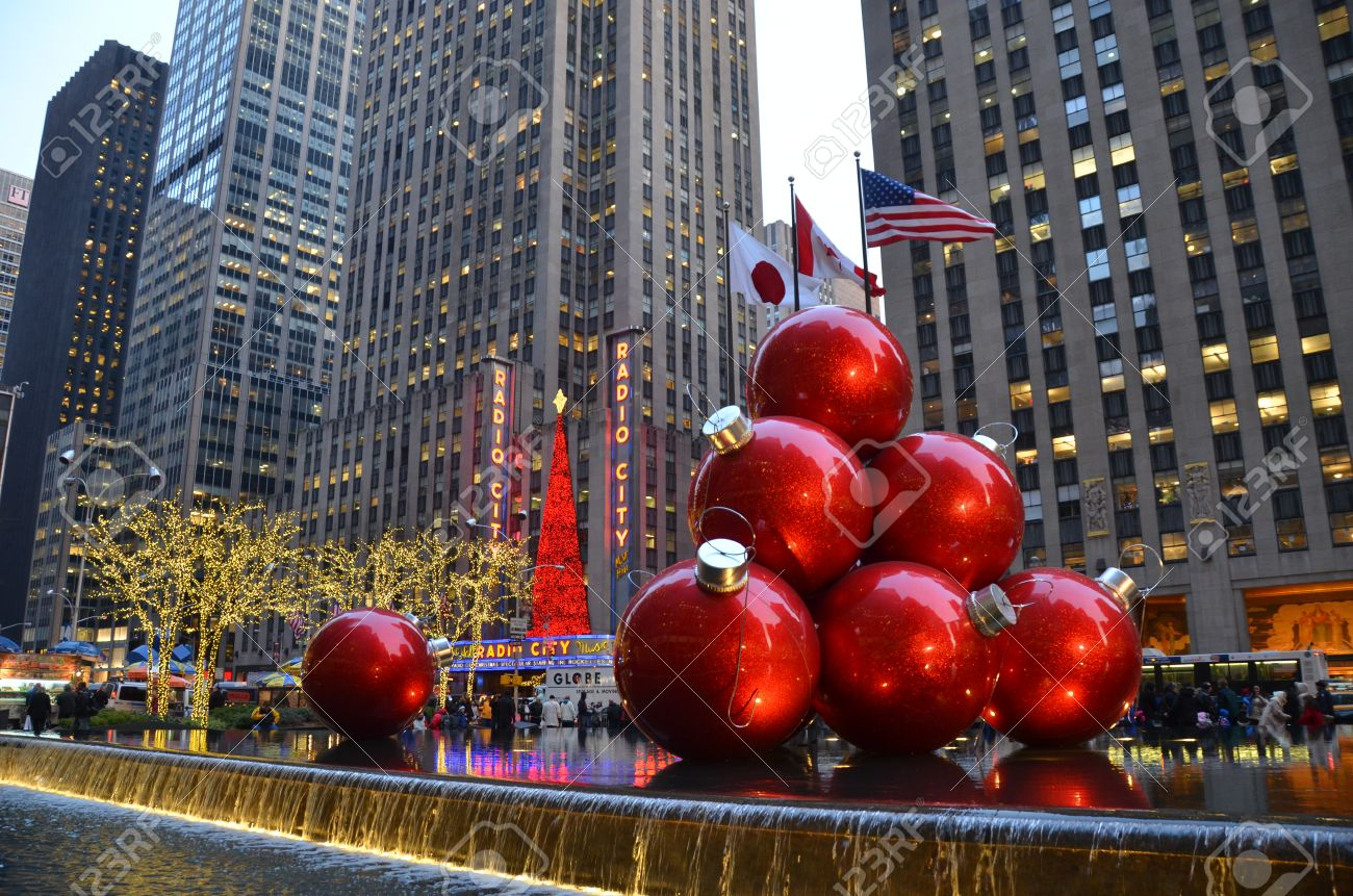 Giant Christmas Ornaments, New York Stock Photo, Picture And Royalty ...