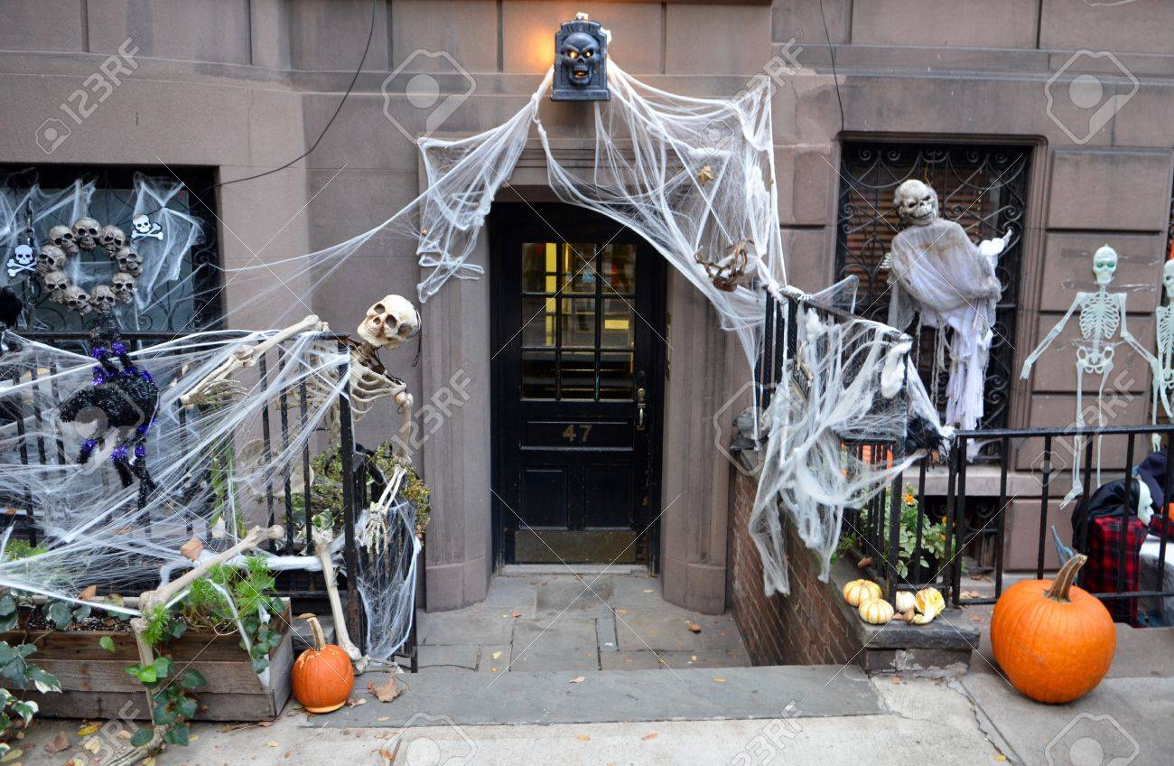 halloween decorations in upper west side manhattan nyc usa stock photo