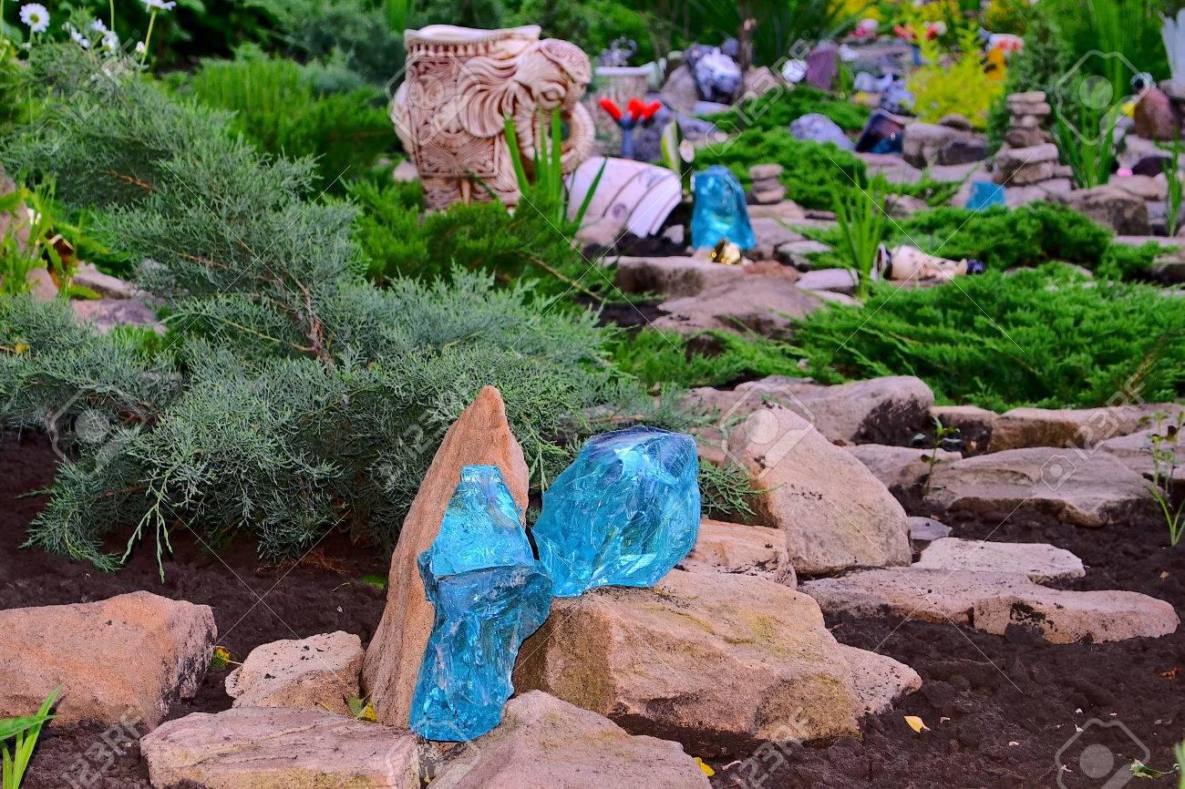 Rockgarten Künstlicher Hügel Oder Bank Von Erde Und Steinen Gebaut