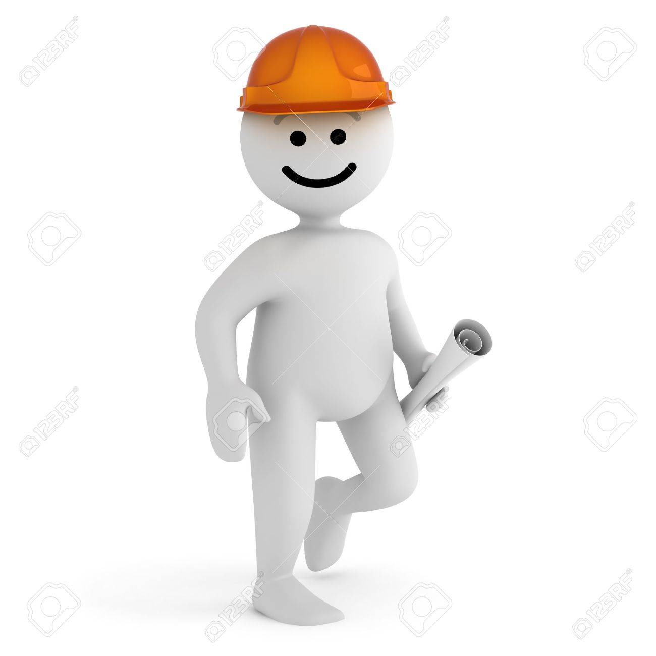 Funny smile character with blueprint and hard hat Stock Photo - 10065296