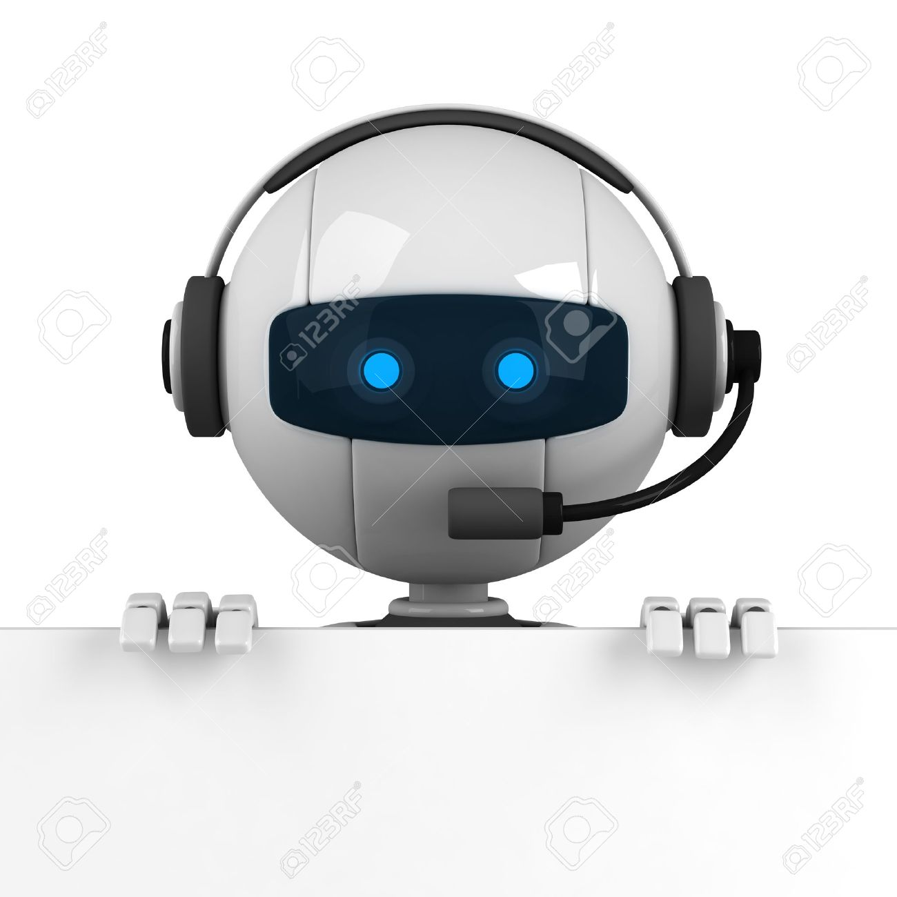 Funny white robot stay with blank banner Stock Photo - 10042484