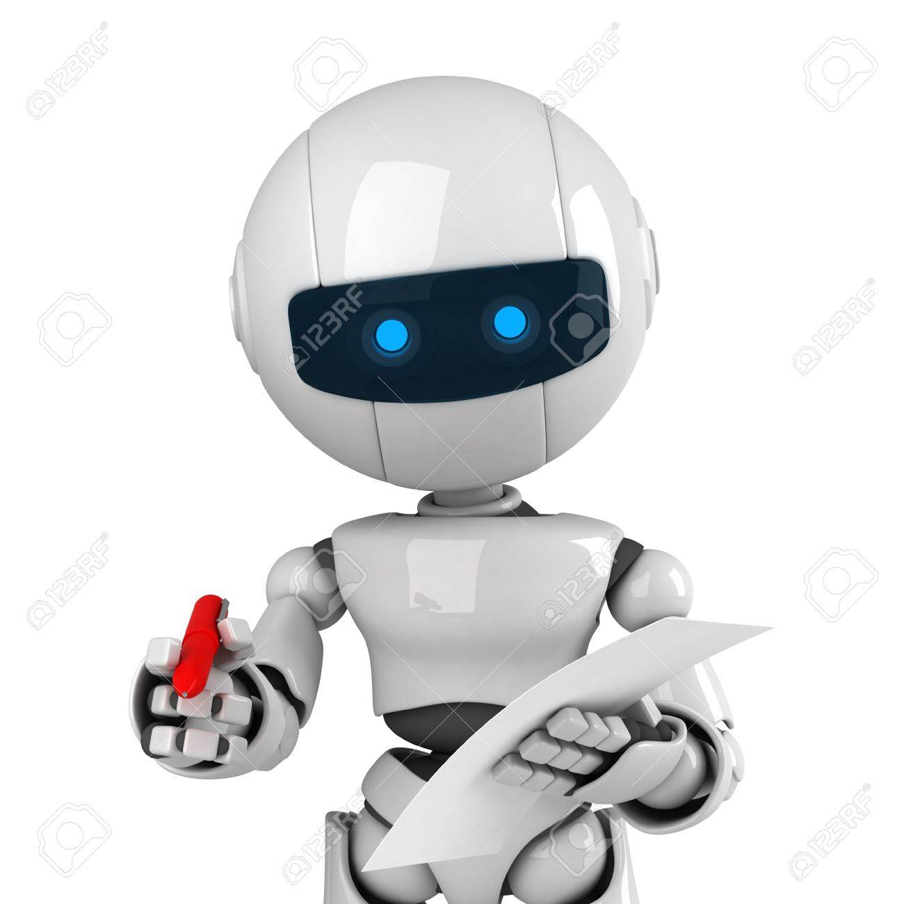 Lustige Weisse Roboter Aufenthalt Mit Stift Und Leeres Dokument Lizenzfreie Fotos Bilder Und Stock Fotografie Image 10042490