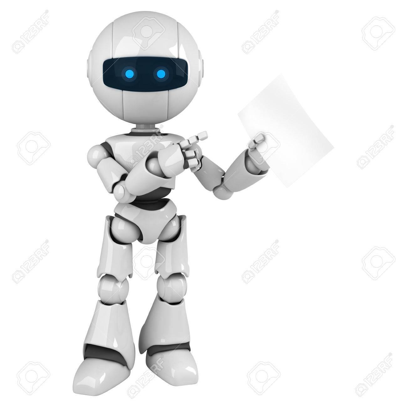 Lustige Weisse Roboter Bleiben Und Leeres Dokument Anzeigen Lizenzfreie Fotos Bilder Und Stock Fotografie Image 10042455