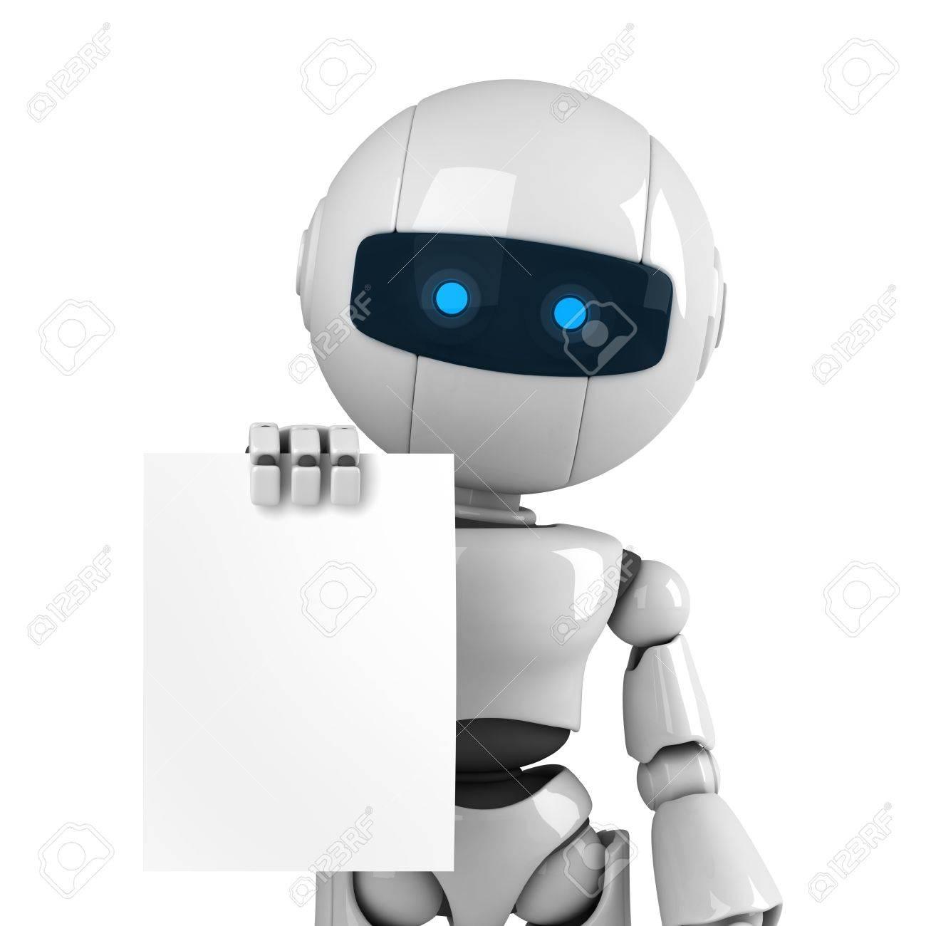 Lustige Weisse Roboter Bleiben Und Leeres Dokument Anzeigen Lizenzfreie Fotos Bilder Und Stock Fotografie Image 10042447
