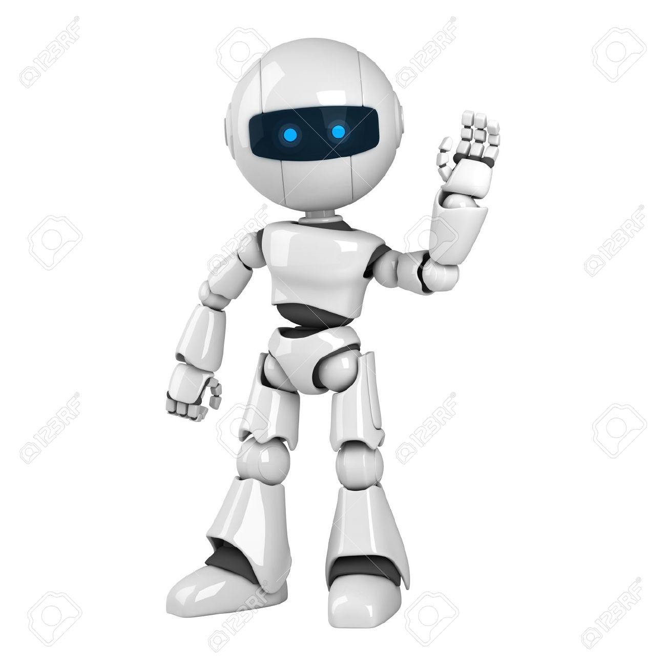 Funny White Robot Stay Show Hello Stock Photo Picture And Royalty Free Image Image 10042501