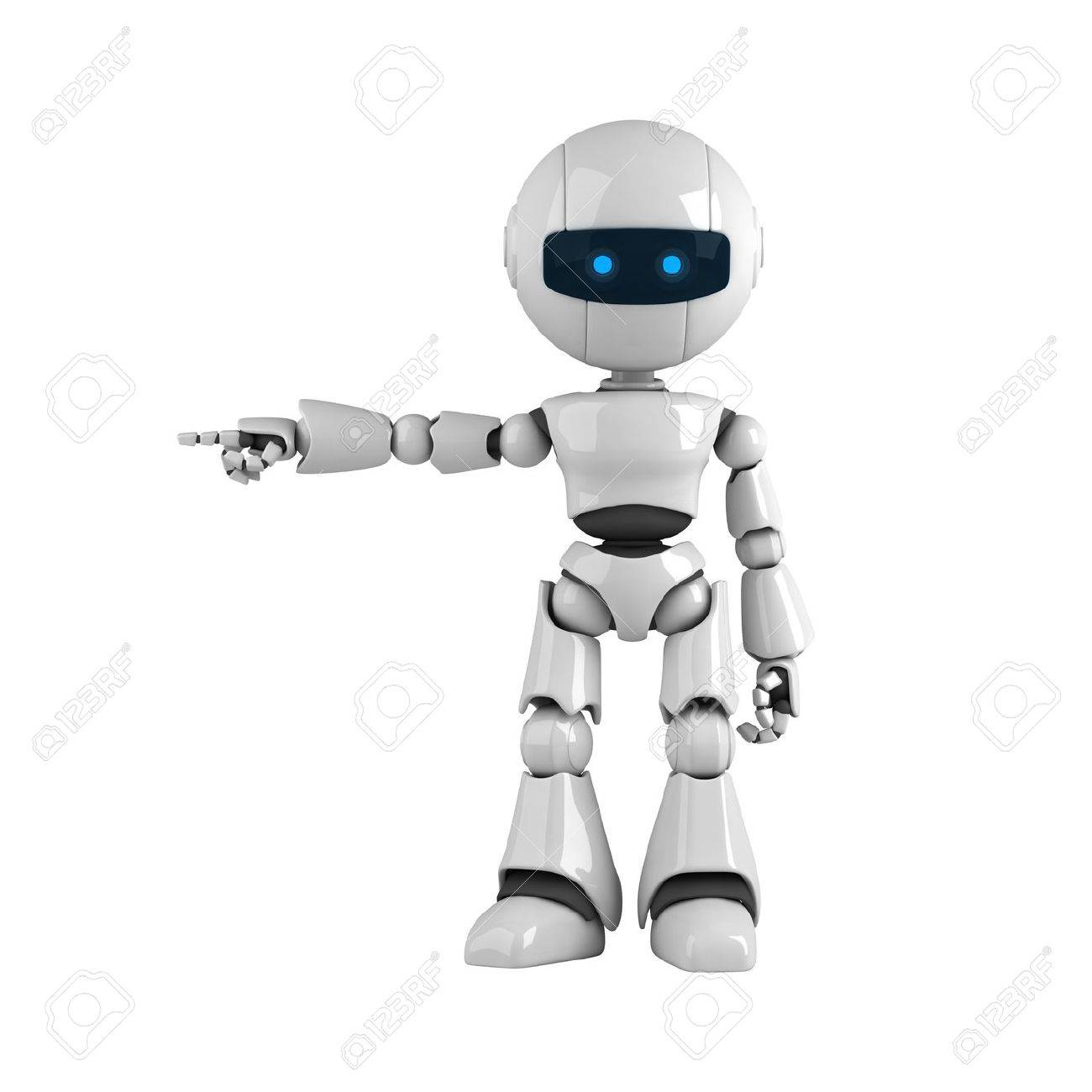 Funny robot stay and show attention from hand and fingers Stock Photo - 10065298